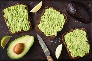 Avocado toast with whole grain bread