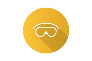 Goggles flat design long shadow glyph icon