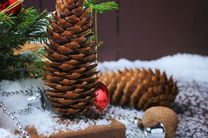 Christmas background greeting card fir tree pine cone Christmas balls gift winter
