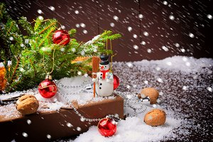Christmas greeting card fir tree snowman snow cones walnuts