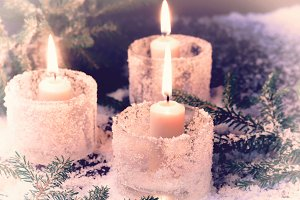 Christmas candle fir tree winter background
