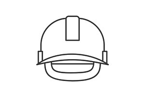 Industrial safety helmet linear icon