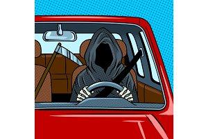 Grim reaper drive car pop art vector illustration