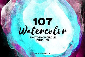 107 Watercolor Circles. PS Brushes