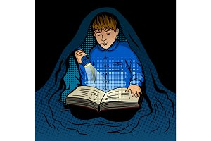 Child reads book at night pop art vector
