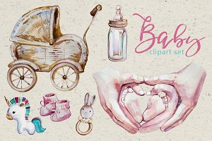 Watercolor Baby Clipart