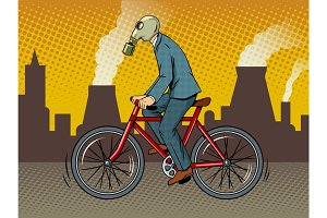 Cycling with bad ecology pop art vector