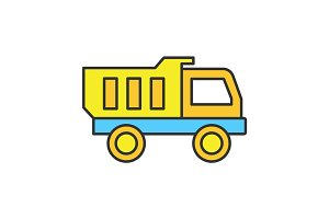 Toy truck color icon