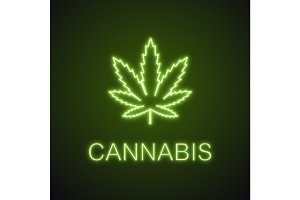 Marijuana leaf neon light icon