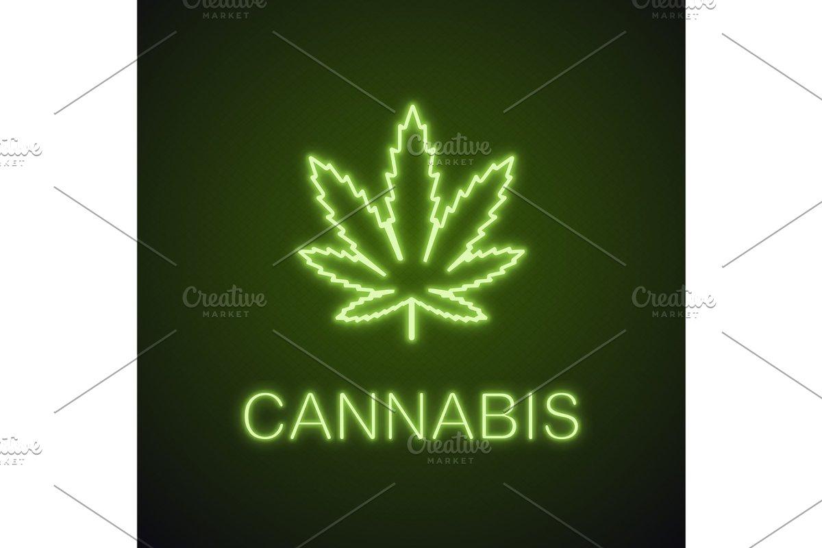 Marijuana Leaf Neon Light Icon Icons Creative Market