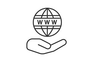 Open hand with www symbol linear icon