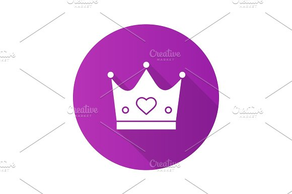 Crown Flat Design Long Shadow Glyph Icon