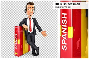 3D Businessman Learning Spanish