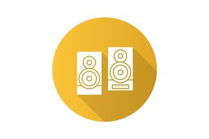 Speakers flat design long shadow glyph icon