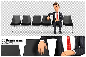 3D Businessman in Waiting Room