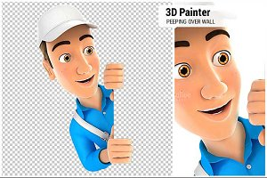 3D Painter Peeping Over Blank Wall