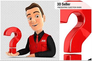 3D Seller Presenting Question Mark