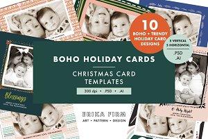 Boho Trendy Christmas Card Templates