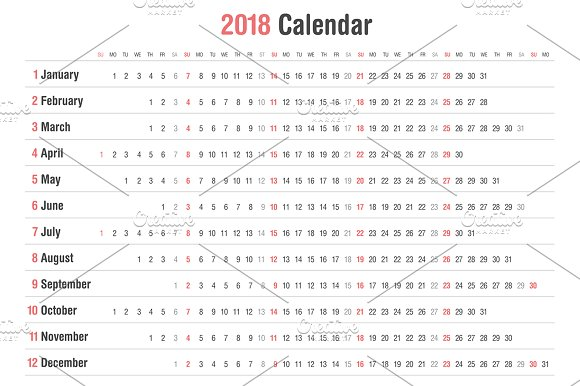 calendar 2018 landscape design stationery