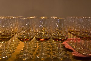 Glasses with cognac on tasting