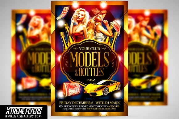 Models and Bottles Flyer Te-Graphicriver中文最全的素材分享平台
