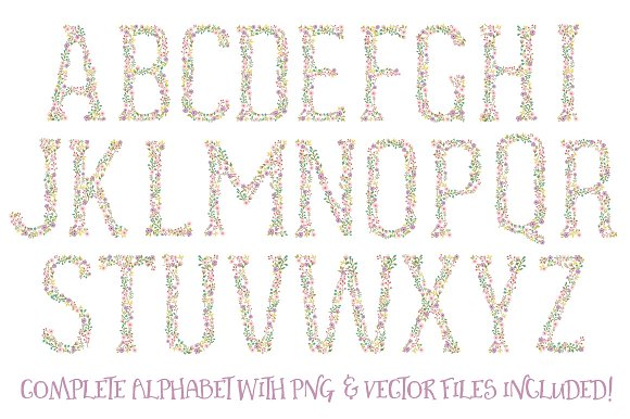 Garden Party Floral Alphabet Vectors in Illustrations - product preview 4