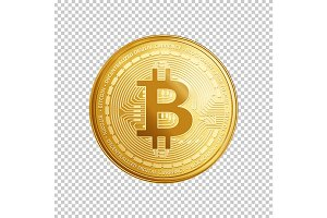 Golden bitcoin coin symbol.