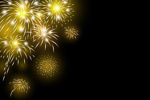 Gold fireworks background