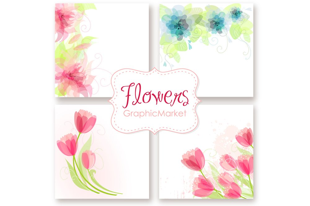 Wedding floral card templates card templates creative market pronofoot35fo Gallery