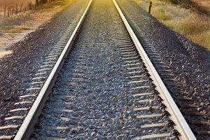 Railroad track sunlit
