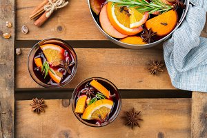Christmas winter hot drink, mulled wine