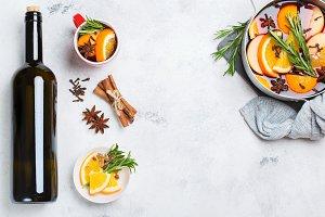 Christmas hot drink, mulled wine ingredients