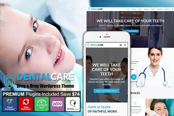WordPress Landing Page Themes: Cherry Wordpress Theme - Dental - Dentist One Page Wordpress