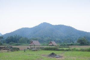 hut in the fields