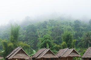 Huts near the mountain