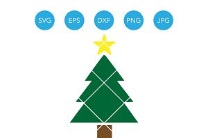 Christmas Tree with Star SVG Clipart