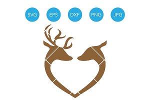 Reindeer Heart SVG File for Cricut