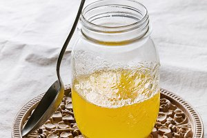 Glass of ghee butter
