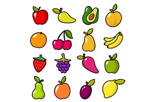 Collection of fruits in cartoon style