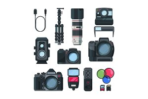 Digital photo and video cameras in cartoon style. Professional equipment