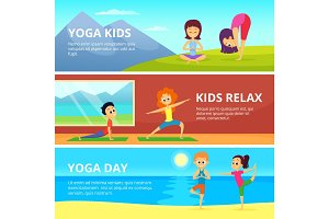 Outdoor pictures of kids making different yoga exercises. Vector banners with place for your text