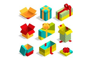 Different christmas box for gifts. Isometric pictures set