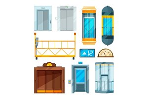 Set of different modern glass elevators. Vector pictures in cartoon style