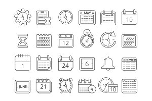Mono line pictures set of time managements symbols