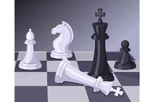 Final of chess game. Checkmate on chess board. Business concept