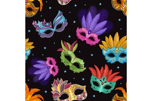 Seamless pattern set with carnival mask. Party illustrations in cartoon style