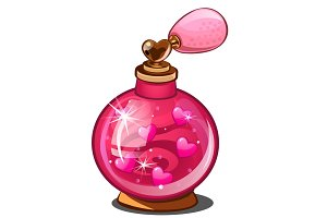 Elixir of love. Pink perfume bottle with hearts