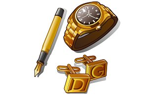 Mens accessories - gold watch, pen and cufflinks