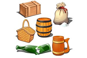 Box, barrel, sack, basket, broken bottle and mug