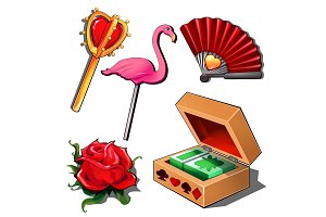 Paying cards, lady fan, rose, flamingo and scepter